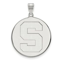 Michigan State Spartans School Letter Logo Disc Pendant In 14k And 10k White Gold