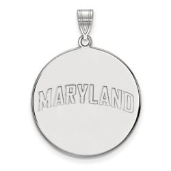 University Of Maryland Terrapins School Name Disc Pendant 14k And 10k White Gold