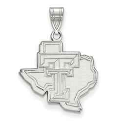 Texas Tech University Red Raiders Logo On State Shaped Pendant In White Gold