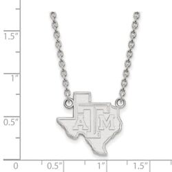 Texas Aandm Aggies School Letters On State Pendant Necklace In 14k White Gold