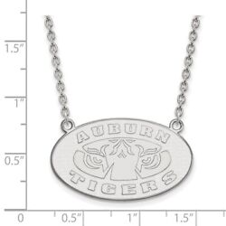 Auburn University Tigers Oval Pendant Necklace In 14k And 10k White Gold