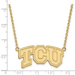 Texas Christian Tcu Horned Frogs School Letters Pendant Necklace In Yellow Gold