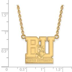 Boston University Terriers School Letters Logo Pendant Necklace in Yellow Gold