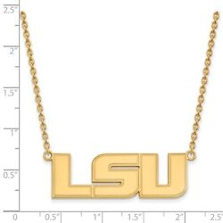 Louisiana State Lsu Tigers School Letters Pendant Necklace In 14k Yellow Gold