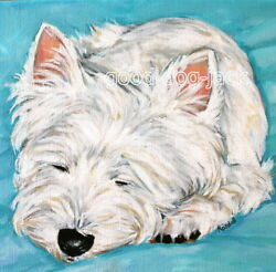 West Highland Terrier WESTIE MATTED SQUARE PRINT Painting