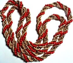 14kt Yellow Gold Twisted Rope Cain Natural Coral Bead Wrap Heavy 62g