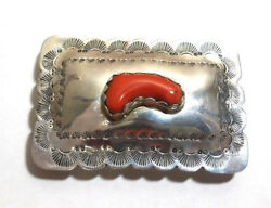 VINTAGE STERLING RED CORAL PENDANT BELT BUCKLE SOUTHWEST STYLE OLD PAWN