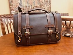 COLE HAAN Military Style Rustic Heavy Leather Briefcase  Messenger Bag- US Made