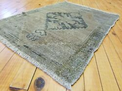 """Antique 1900-1930's Wool Pile Muted Natural Dye Oushak Rug 1'10""""x2'7"""""""