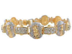 10k Or 14k Two-tone Gold Face Of Jesus Religious Bracelet With White Cz Links