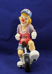Veronese Figurine Resin Clown On A Unicycle Vintage Rare Collection 1997