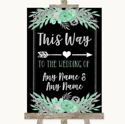 Wedding Sign Poster Print Black Mint Green And Silver This Way Arrow Right