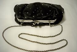 FRANCHI Evening Black Silk Satin Crystal Clasp Chain Strap Clutch Shoulder Bag