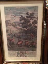 Richard Blome Engraving A Keeper Chaseing Out Of The Heard 1686 Framed Antique