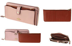 NEW $275 COACH F25967 ACCORDION ZIP ENVELOPE CARD PHONE CASE WALLET CLUTCH BLUSH
