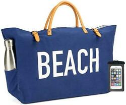 PACO Large Canvas Beach Bag Travel Tote (Blue) Waterproof Lining 2 Drink Holde