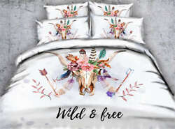 Bull Holds Feather 3d Printing Duvet Quilt Doona Covers Pillow Case Bedding Sets