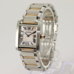 Cartier Tank Française Ladies Steel & Pink Gold with MOP Dial with Box & Papers