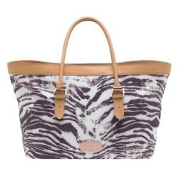 MULBERRY Beige Pink Gold TRIPPY TIGER Raffia Leather Large Beach Bag Tote NEW