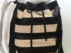 NWT Ralph Lauren Collection Black and White Striped Fringed Bucket Bag