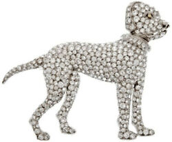 9.65ct NATURAL round DIAMOND 14K SOLID WHITE GOLD POODLE BROOCH FOR DOG LOVERS