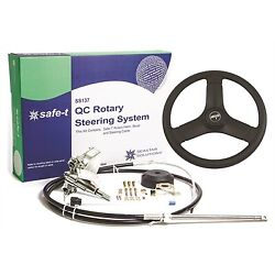 14ft Boat Steering System Ss13714 Safe-t Qc Rotary With 13and039and039 Steering Wheel