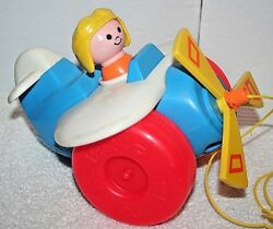 Vintage Fisher Price Pull-along Plane 2017 Plastic Airplane Toy