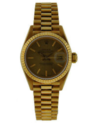 ROLEX OYSTER PERPETUAL LADIES 26MM DATEJUST 18KT YELLOW GOLD FLUTED BEZEL CHA...