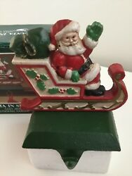Midwest Of Cannon Falls Santa Sleigh Cast Iron Christmas Stocking Holder Hangers