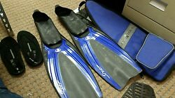 Body Glove Flow Blue And Black Snorkeling Diving Fins, Size L 44-45 10-11 With Bag