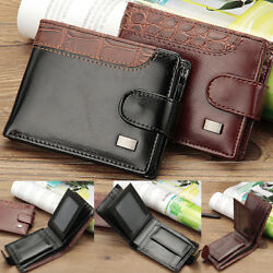 Men's Bifold Leather Card Holder Wallet with Flap Coin Pocket Convenient Purse