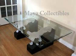 Rare Mid Century Frosted Lucite Panther Lacquer Base And Glass Top Coffee Table