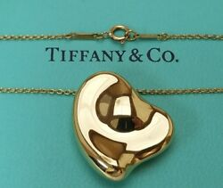And Co. 18k Yellow Gold Elsa Peretti Puffed Curved Heart/bean Necklace