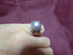 11-12mm Black South Sea Pearl With Diamonds Platinum Band 6 1/2
