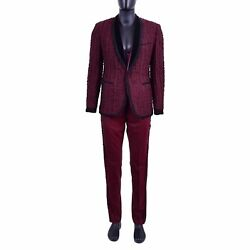 Dolce And Gabbana Baroque Trimmed 3d Embroidery Suit Blazer Pants Red Black 06919