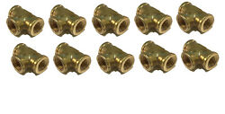 10 Pack Brass Forged Reducing Tee Fitting 1/4 X 1/4 X 3/8 Fnpt Female Npt