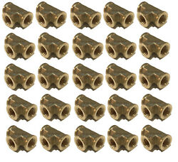 25 Pack Brass Forged Equal Tee Fitting 1/4 Female Npt Fnpt Air Fuel Wog