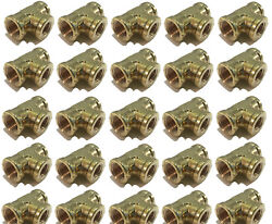 25 Pack Brass Forged Reducing Tee Fitting 3/8 X 3/8 X 1/4 Female Npt Fnpt Wog