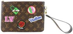 Louis Vuitton Cité Stories Pouch Patches Brown Coated Canvas Wristlet 2lz0807