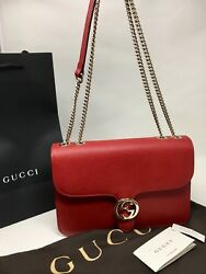 Gucci New Authentic GG Marmont Leather Cross Body Bag Shoulder Bag Red Large