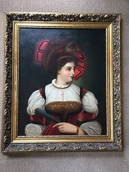 19th C. French School Portrait Of A Young Beauty With A Fan Oil On Canvas