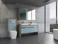 Vanity Washstand Unit 1500mm Duck Egg Blue/driftwood With Wall Unit - Bathcabz
