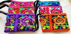 Wholesale 60Pcs Thai Hmong Handmade Embroidered Purse Wallet Coin Bags Mix Color