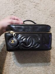 Chanel Black Patent Leather Cosmetic Vanity Travel Pouch Case Bag Handbag Purse`