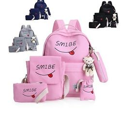 Women Kids Canvas Backpack School Bag Set For Youth Girls With Purse