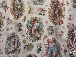 Designer Heavenly Angels Cherubs French Toile Fabric 10 Yards Multi Blue Reds