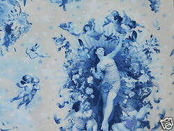 Designer Heavenly Angels Cherubs French Toile Fabric 10 Yards Lapis Blue Taupe