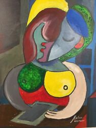 Modern Woman Texting - Original Acrylic Painting 22x28 Inch Picasso Inspired.