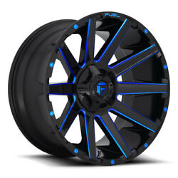 Fuel Contra D644 24x14 8x165.1 Offset -75 Gloss Black With Candy Blue Qty Of 4