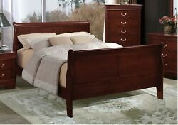 Contemporary Style King Size Bed Cherry Headboard Footboard Bedroom Furniture